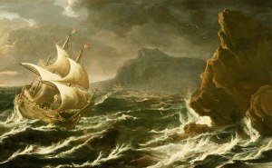 Matthieu_van_Plattenberg_-_A_Dutch_Ship_Running_on_to_a_Rocky_Coast