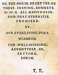 Dedication page from The Sonnets