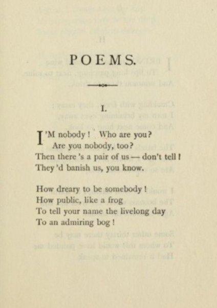Emily Dickinson - Nobody